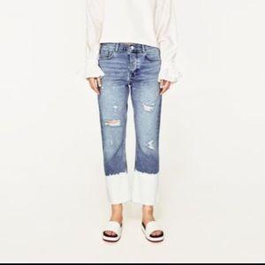 Zara straight leg crop jean with bleached raw hem